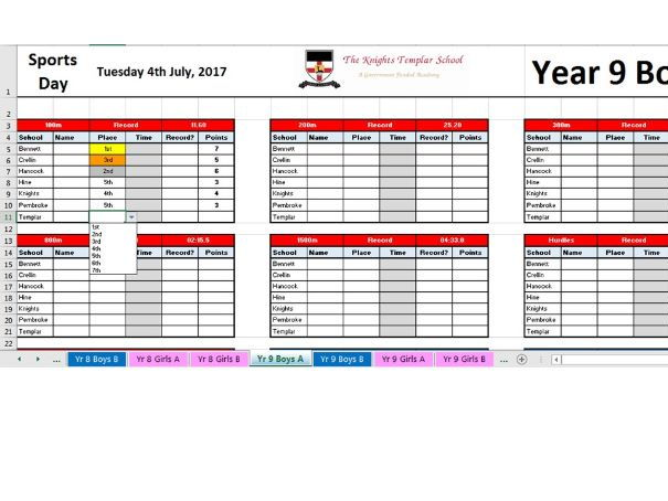 **NEW UPDATED** Sports Day Scoring Programme for 7 Lanes (Year 7-10 A&B)