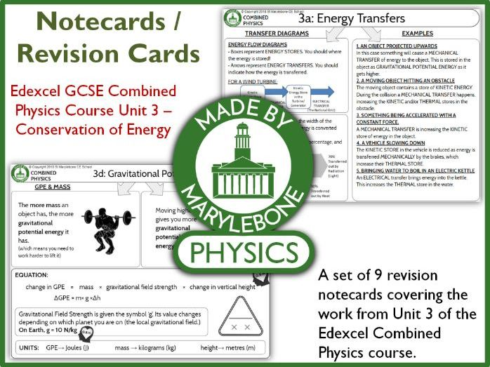 Edexcel GCSE 9-1 Combined Physics P3 Notecards (Revision Cards)