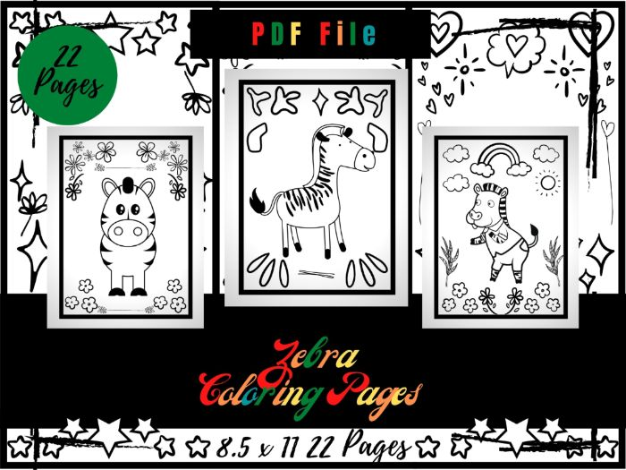 Zebra Colouring Pages For Kids, Colouring Sheets PDF, Wildlife Animals Printable