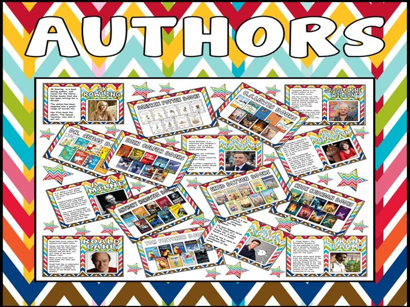 FAMOUS AUTHORS POSTERS KEY STAGE 1-3 AGE 4-13 WORLD BOOK DAY