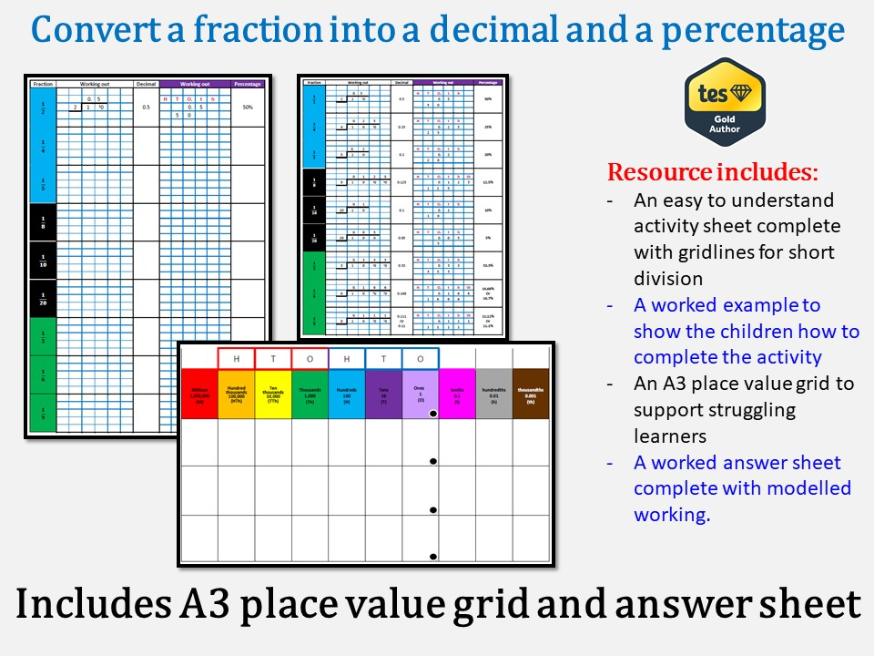 Convert a fraction into a decimal and a percentage (includes answer sheet)