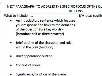 AQA Drama Theatre Studies Essay Framework and Example: Antigone