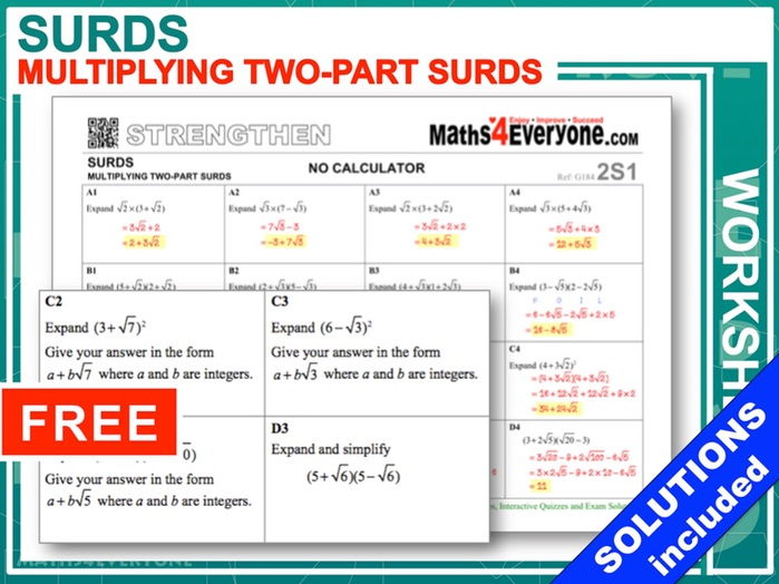 Multiplying Surds Worksheet With Solutions By Maths4everyone