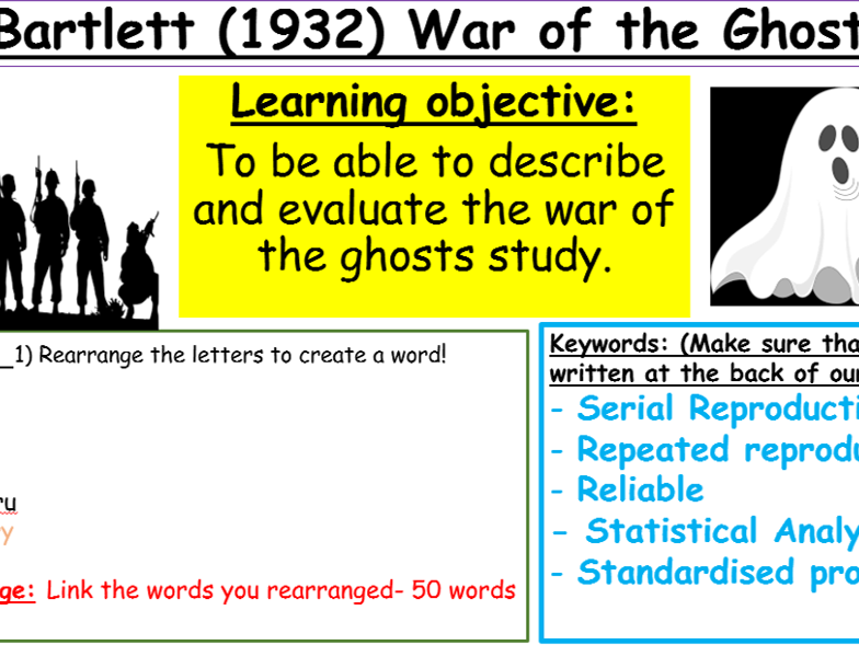 GCSE Edexcel Psychology (9-1): Topic 2, Lesson 3: Studies - Bartlett 'War of ghosts'