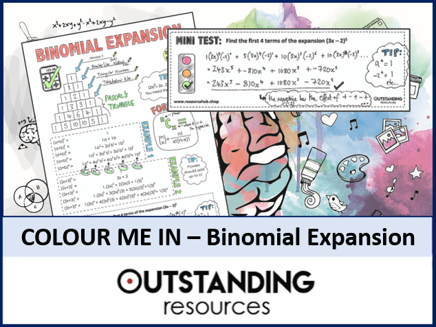 Colour Me In Sheets or Doodle Notes - Binomial Expansion (Theorem)