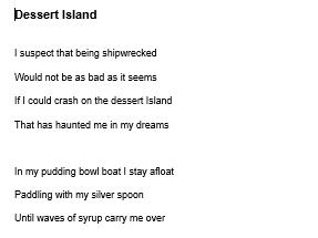 Dessert Island Reading Comprehension