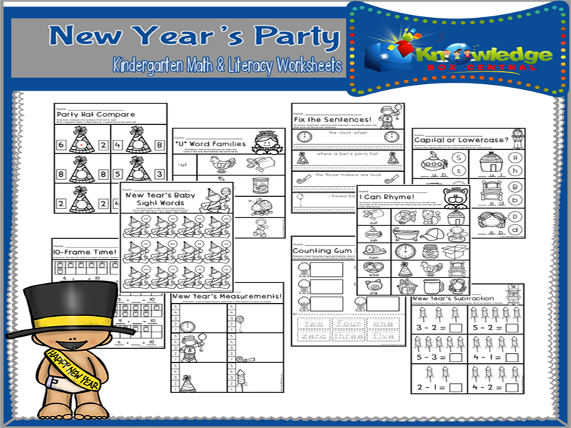New Year's Party Kindergarten Math & Literacy Worksheets