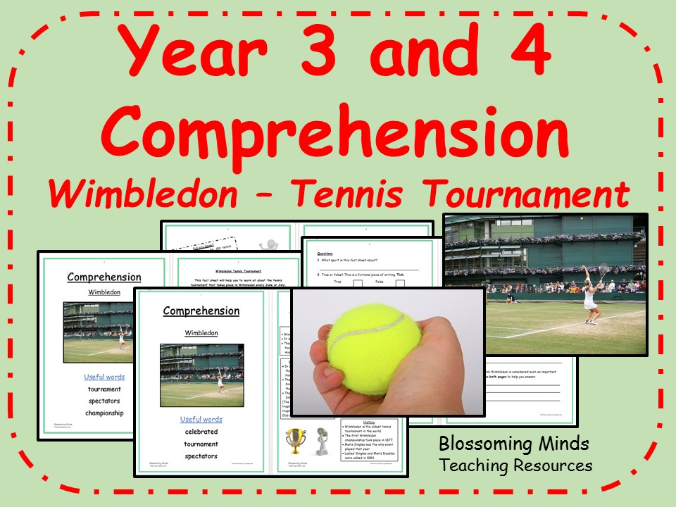Year 3 and 4 - Wimbledon tennis comprehension