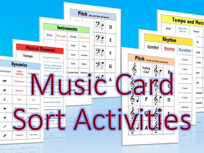 Music Card Sort Activities