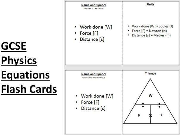 AQA GCSE Physics Equations Flash Cards