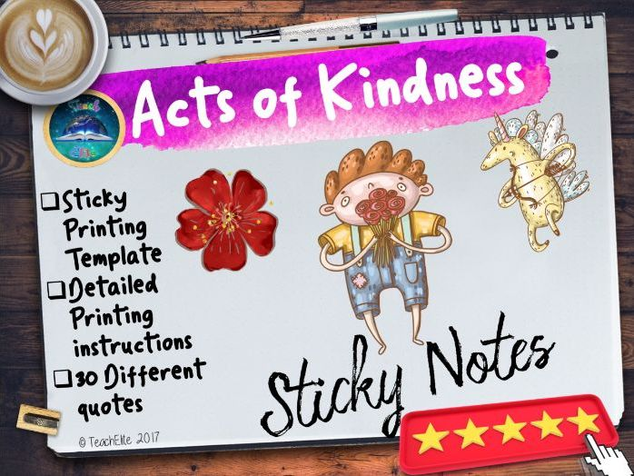 30 Acts Of Kindness Quotes For Sticky Notes Teaching Resources