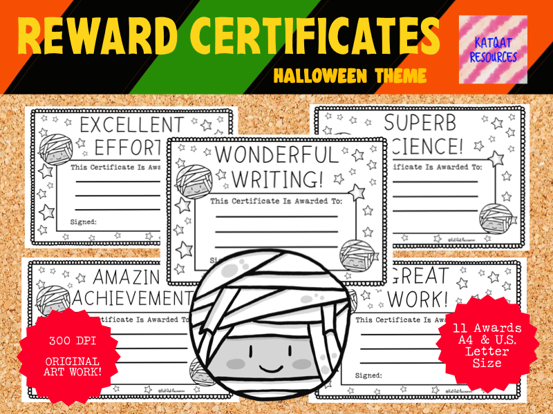 Reward Certificates Ancient Mummy Printable Black Line Illustrations - Halloween