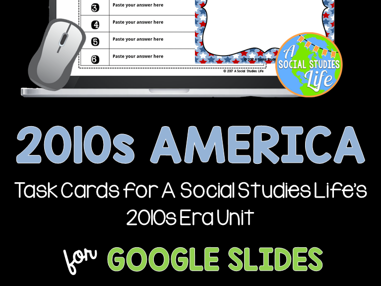 2010s America Task Cards GOOGLE DRIVE DISTANCE LEARNING