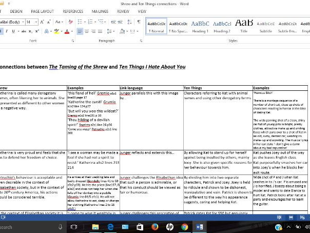 The Taming of the Shrew and Ten Things I Hate About You Detailed Connections Reference Grid