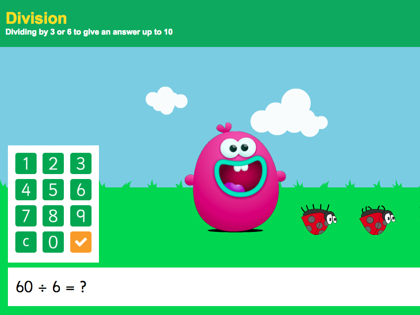 3 and 6 Times Tables - Dividing 3 or 6 to give an answer up to 10 Interactive Game - KS2 Number