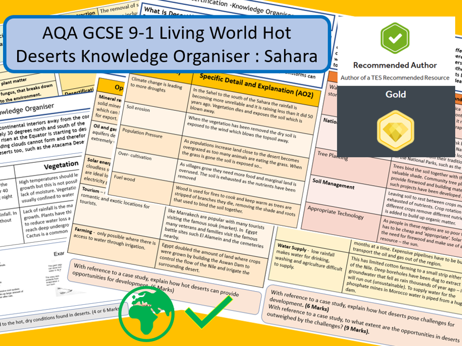 GCSE 9-1 AQA: Living World Hot Deserts Knowledge Organiser and Revision Summary , Sahara Desert