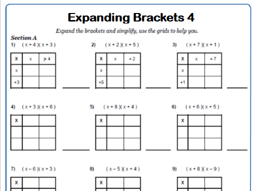 Expanding Double Brackets Maths Worksheets and Answers