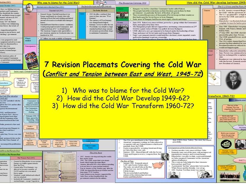 Revision Placemats for the Cold War (Conflict and Tension between East and West, 1945-72)