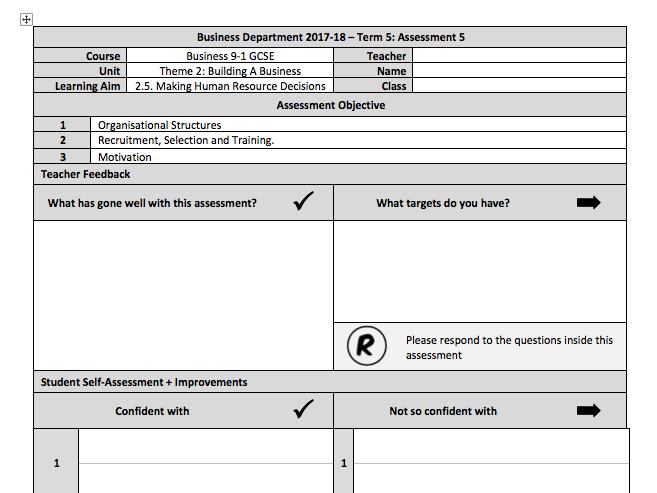 Edexcel GCSE Business 9-1 - Theme 2 - Section 5 End of Unit Assessment and Mark Scheme