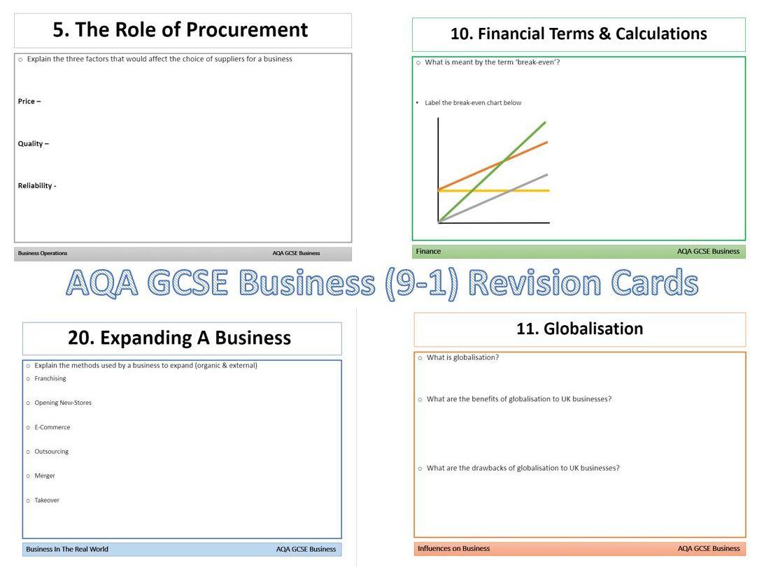AQA GCSE Business (9-1) Revision Card Bundle