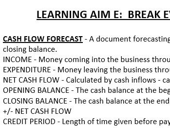 BTEC LEVEL 3 BUSINESS. UNIT 3 PERSONAL & BUSINESS FINANCE: KEY TERMS GLOSSARY.