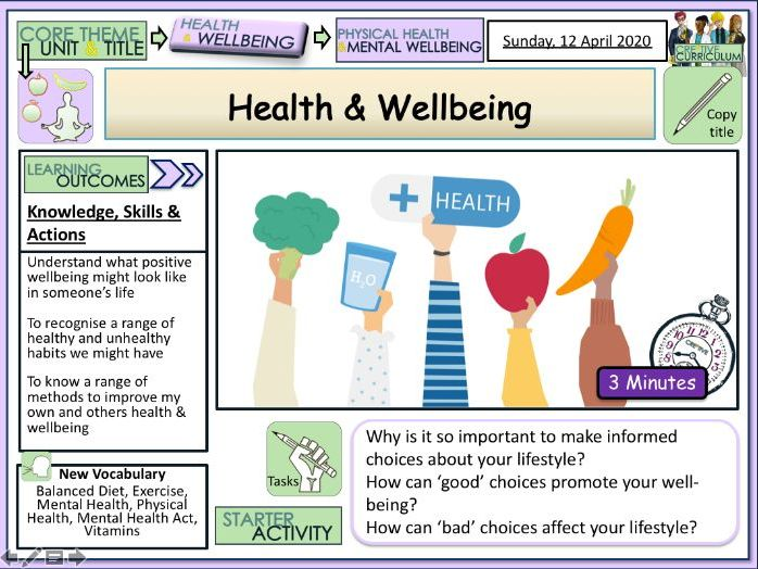 Health & Wellbeing PSHE Lesson