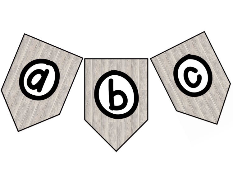 Wood Effect Banners - Alphabet and Numbers
