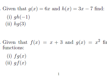 3 Worksheets on functions