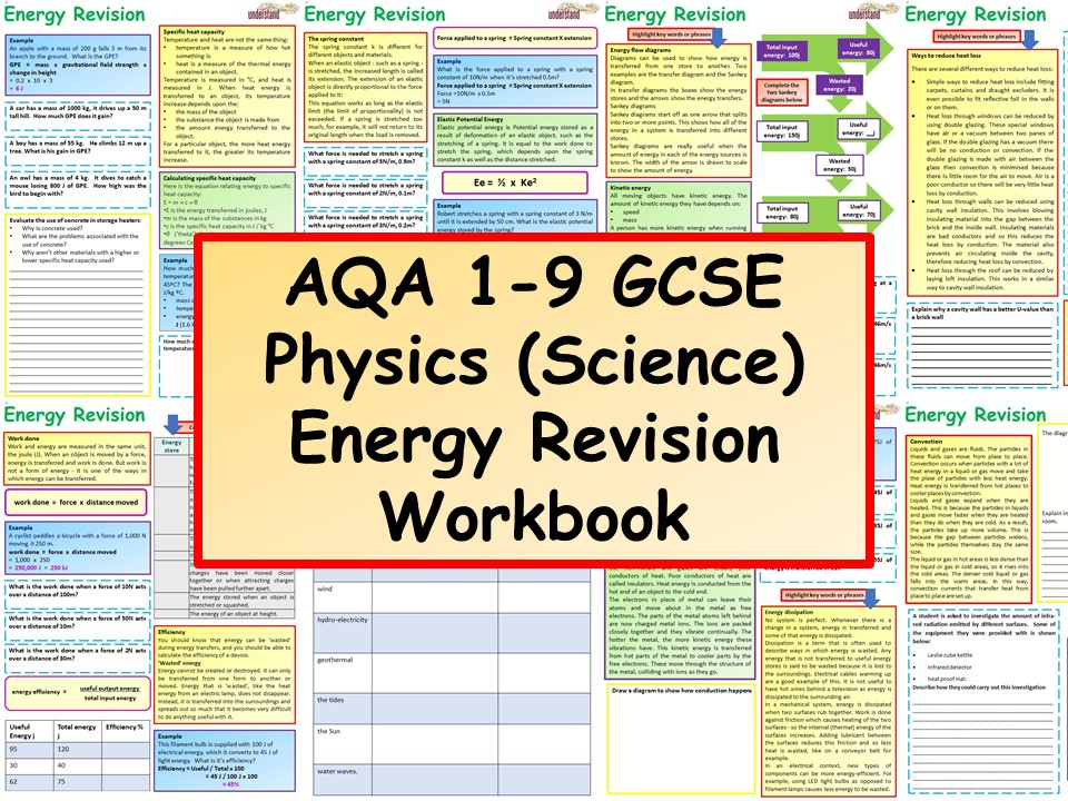 AQA 1-9 GCSE Physics (Science) Energy Revision Workbook