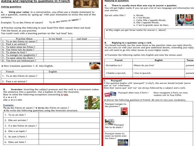French asking and replying to questions - 6-page workbook, ideal for cover, (GCSE) revision, hwk...