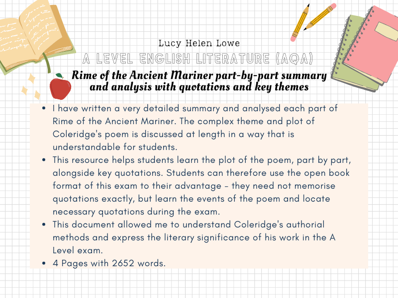 English Literature A Level AQA Rime of the Ancient Mariner part-by-part summary and analysis