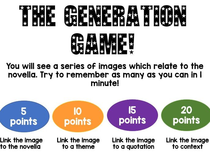 A Christmas Carol Revision lesson Generation Game and exploding quotes