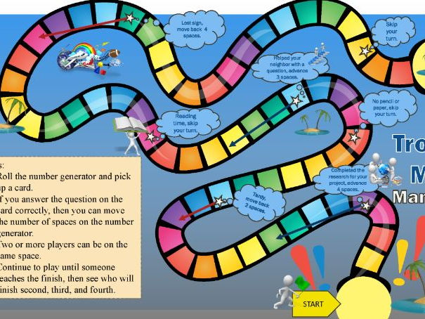 Tropical Math Maneuvers Game Board for the Secondary Classroom