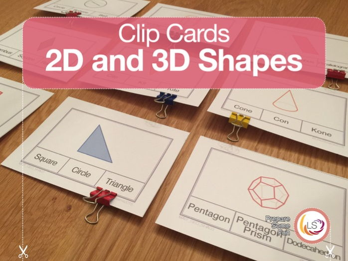 2D and 3D Shapes | Clip Cards
