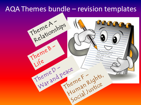 Revision tempates for AQA GCSE RS Themes A,B,D,F