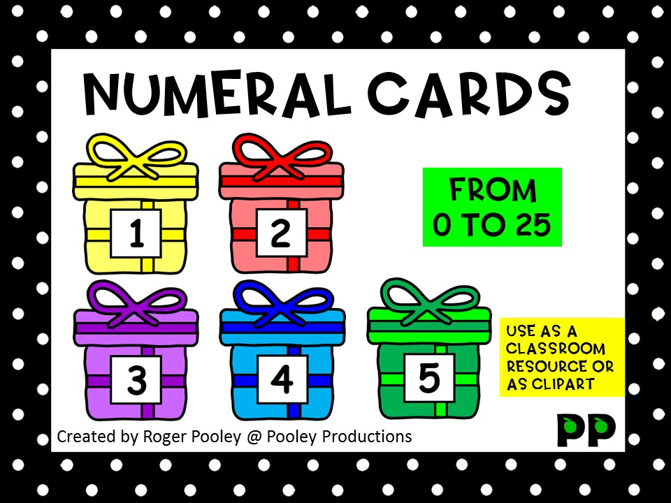 Present Numeral Cards to 25, classroom resource and clipart