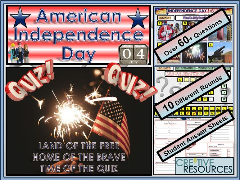 American Independence Day Fourth of July  QUIZ