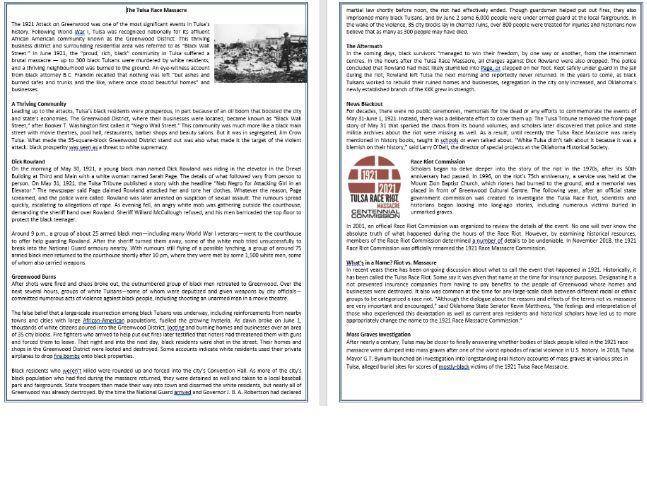 The Tulsa Race Massacre - Reading Comprehension / Informational Text
