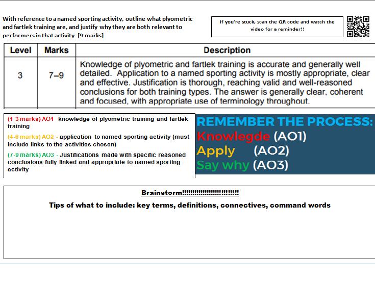 AQA GCSE PE (9-1) Learning mat / storyboard Exam technique bundle- Physical Training