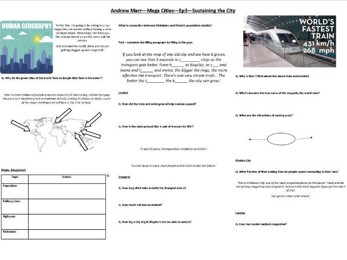 Andrew Marr - Mega Cities - Ep3 -Sustaining the City - Worksheet to support the BBC documentary