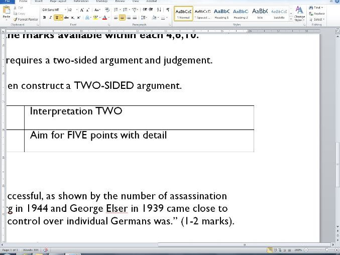 Guide to answering IGCSE History questions (ABC 4,6,10).