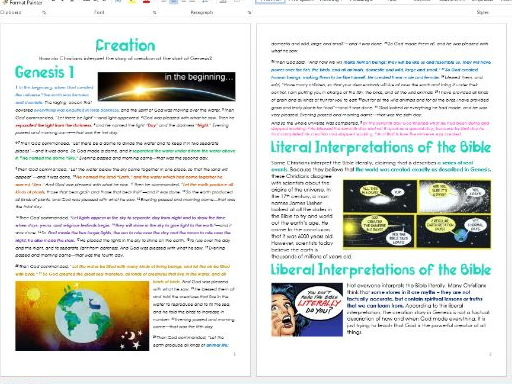 Genesis: Creation: Differentiated Information and Activity Sheets