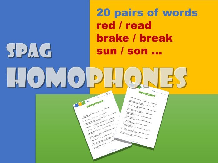 English SPaG - KS2/3.   Homophones worksheets: red/read, brake/break etc