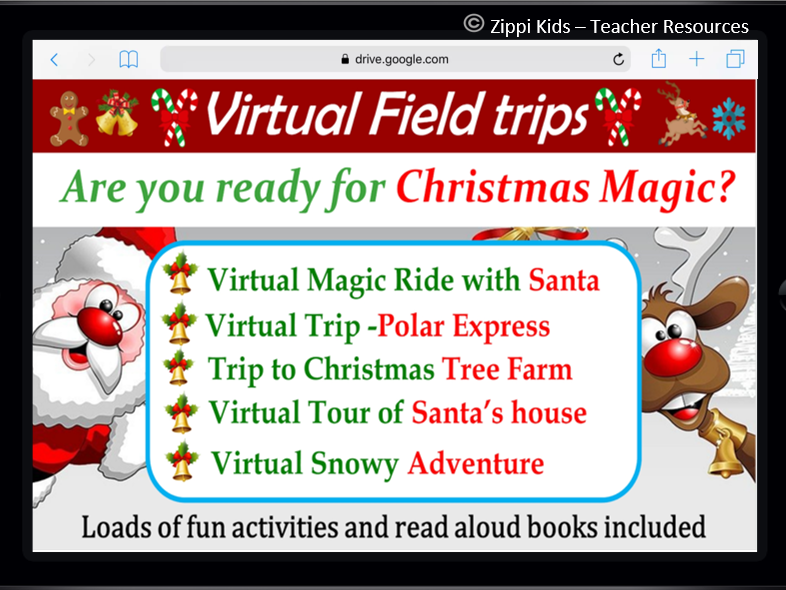 Christmas Virtual Field Trips and Activities – 50 Google Slides
