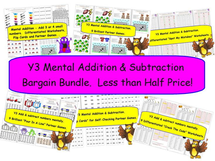 Y3 Mental Addition & Subtraction Bargain Bundle.  Less than Half Price!