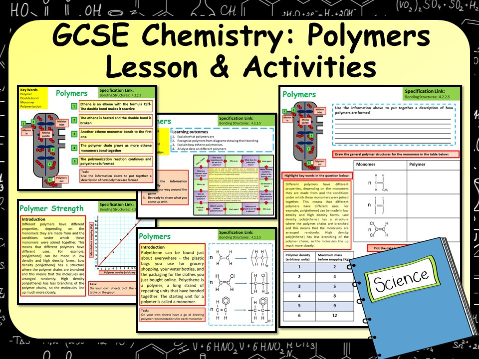 KS4 AQA GCSE Chemistry (Science) Polymers Lesson & Activities