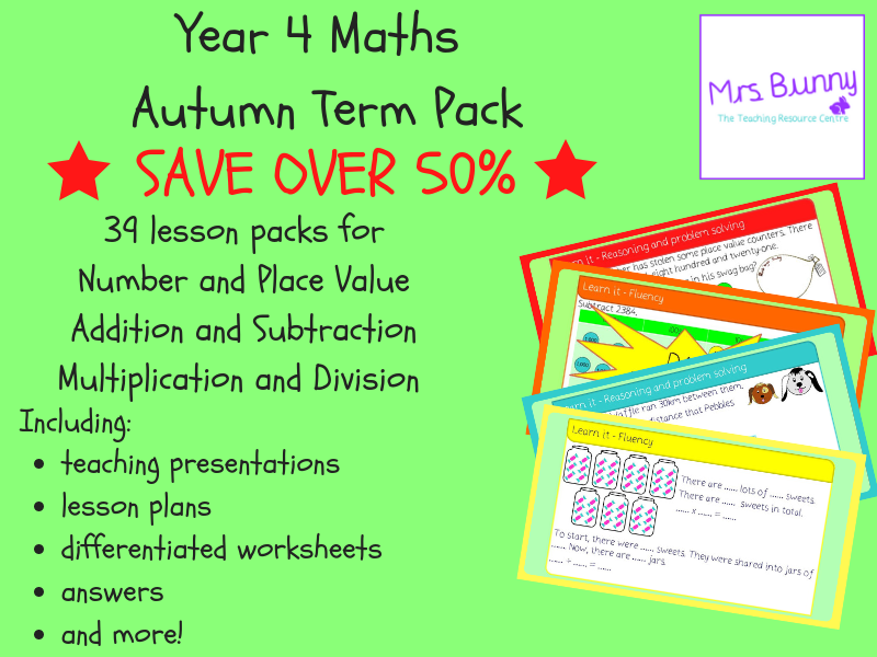 Year 4 Maths Autumn Term Pack