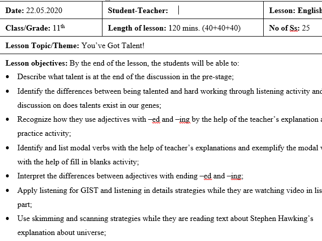 You've got talent!-Integrated Lesson Plan