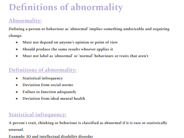 AQA A level Psychology: Psychopathology , definitions of abnormality notes and evaluations