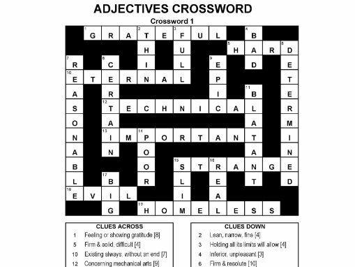2nd letter add on crossword adjectives crossword puzzles by publicsecondary teaching 20057